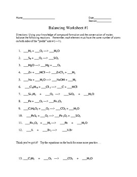 Balancing of Chemical Equations Practice 1