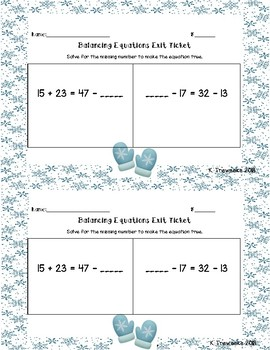 Balaning Equations Exit Tickets