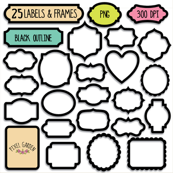 Balck Blank Digital Frames, Labels Clipart - 40 PNG