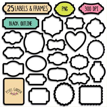 Black Blank Digital Frames, Labels Clipart - 40 PNG