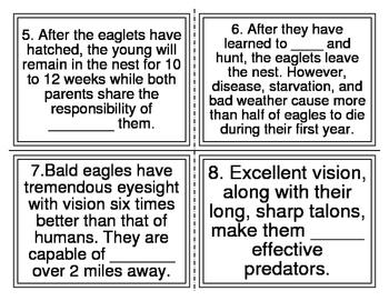 Bald Eagle Cloze Task Cards (26 Cards)