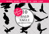 Bald Eagle Silhouettes Clipart Clip Art (AI, EPS, SVGs, JPGs, PNGs, PDF)