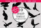 Bald Eagle Silhouettes Clipart Clip Art (AI, EPS, SVGs, JP