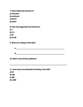 Bali Myna - Endangered Bird Lesson Article Questions Facts Vocab Word Search