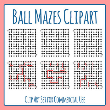 Ball Mazes Clip Art Set for Commercial Use