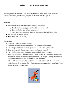 Ball Toss Review Game for any subject