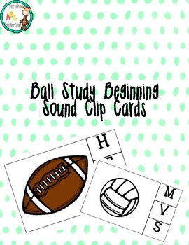 Ball themed beginning sound clip cards