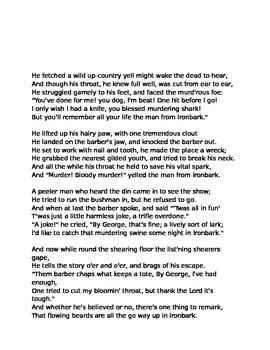 Ballad Activity (The Man From Ironbark)