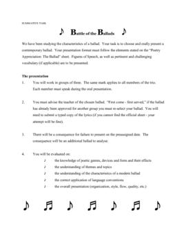Ballad - Characteristics of a Comtemporary Ballad