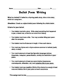 Ballad Poem Writing Assignment