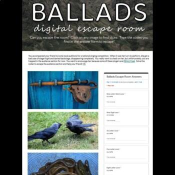 Ballad Poetic Form Digital Breakout Escape Room Game: British/AP Lit.