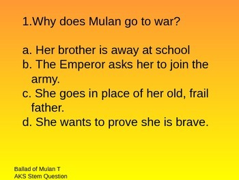 Ballad of Mulan Houghton Mifflin Reading 3rd Grade Questions