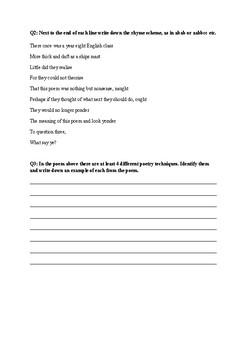 Ballads Quiz Year 8 English