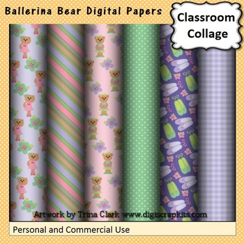 Ballerina Bear Digital Papers Set  personal & commercial use