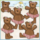 Ballerina Bears - CU Colored Clip Art