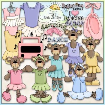 Ballerina Bears Clip Art - Dressed Up Bears - Dance Clip Art - CU Clip Art & B&W