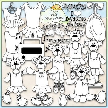 Ballerina Bears Clip Art - Dressed Up Bears - Dance Clip Art - CU Clip Art & B&W