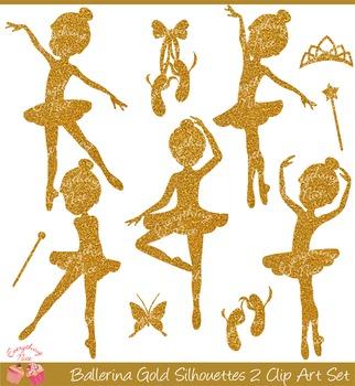 Ballerina Gold Silhouettes Clipart Set