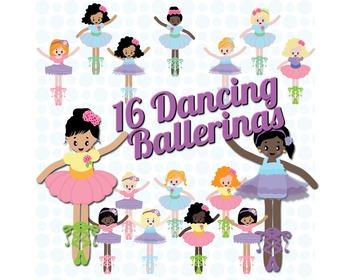 SALE- Ballerina Clipart, Ballet Clipart. Cute Dancing Girls