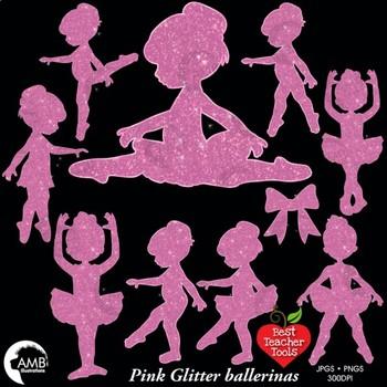 Ballerina Clipart, Ballet Silhouette Clip Art in Pink Glitter, AMB-2225
