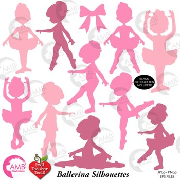 Ballerina Clipart, Ballet Silhouettes in Black, {Best Teacher Tools} AMB-1584