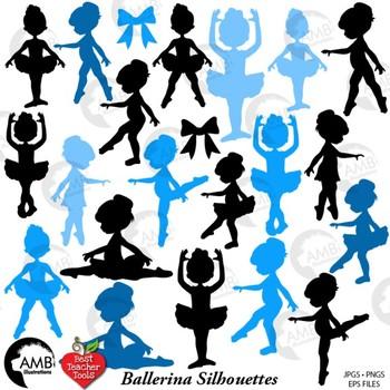 Ballerina Clipart, Ballet Silhouettes in Blue, {Best Teacher Tools} AMB-1951