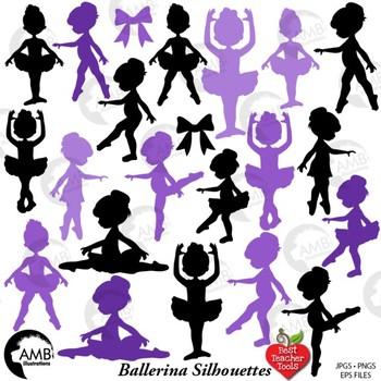 Ballerina Clipart, Ballet Silhouettes in Purple, {Best Teacher Tools} AMB-1952