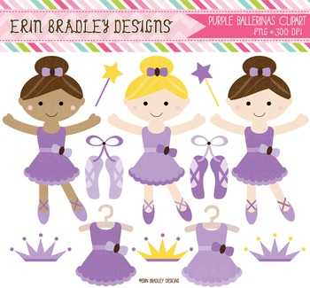 Ballerina Clipart Graphics - Purple