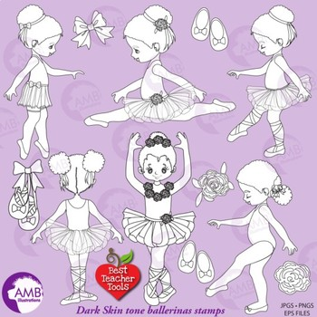 Ballerina Digital Stamps Clipart, African American {Best Teacher Tools} AMB-1948