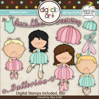 Ballerina Girls 1-  Digi Clip Art/Digital Stamps - CU Clip Art