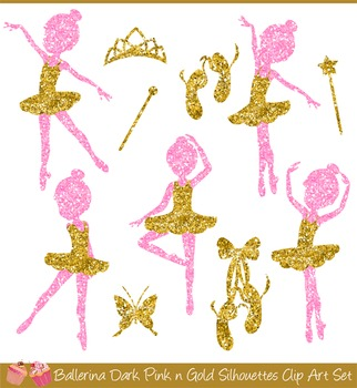 Ballerina Gold and Pink Silhouettes Clipart Set