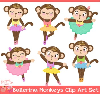 Ballerina Monkeys Clipart Set