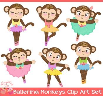 Ballerina Monkeys Clipart Set