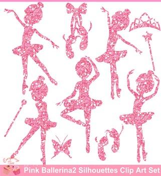 Ballerina Pink Glitters Silhouettes Clipart Set