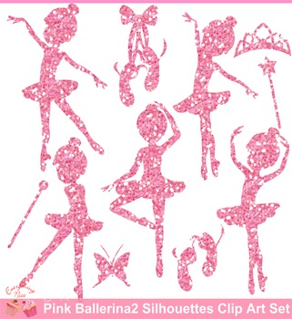 Ballerina Pink Glitters Silhouettes Clipart Set