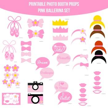 Ballerina Pink Printable Photo Booth Prop Set
