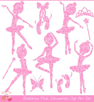 Ballerina Pink Silhouettes Clipart Set