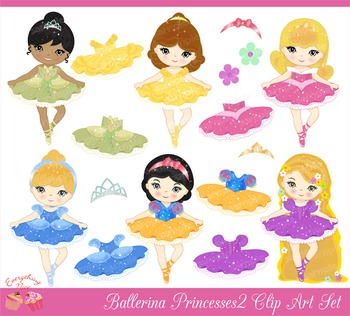 Ballerina Princess Princesses 2 Clipart Set