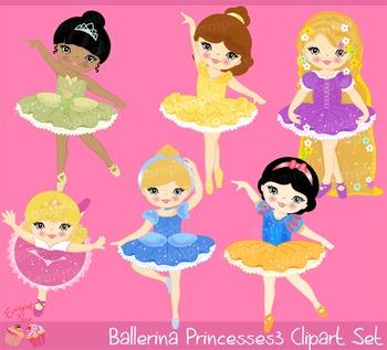 Ballerina Princess Princesses 3 Clipart Set