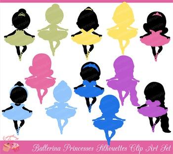 Ballerina Princess Princesses Silhouettes Clipart Set