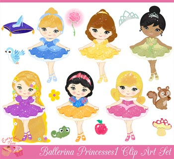 Ballerina Princesses Clipart Set