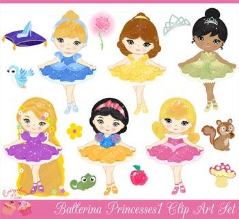 Ballerina Princesses Clipart Set