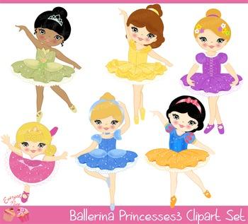 Ballerina Princesses3 Clipart Set