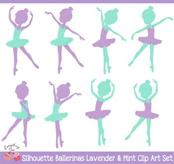 Ballerina Silhouettes in Lavender and Mint Clipart Set