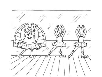 Ballerina Turkey Coloring Page