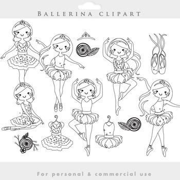 Ballerina lineart clipart - line drawing clip art ballet dancing blacklines