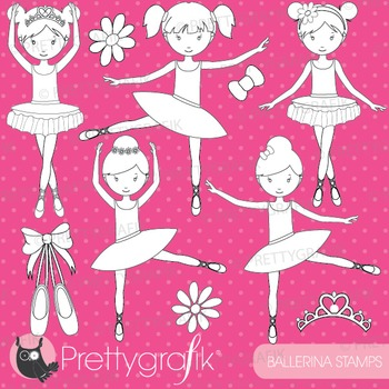 Ballerina dancers stamps commercial use, vector graphics, images - DS533
