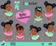 Ballet - Baby Ballerina Clipart, African American baby ballerinas.Pink and Mint.