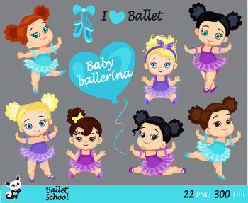 Ballet - Baby Ballerina Clipart, Ballerinas and Purple and Blue Tutus.