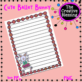 Cute Ballet Bunny Stationery Wide Ruled Note Paper